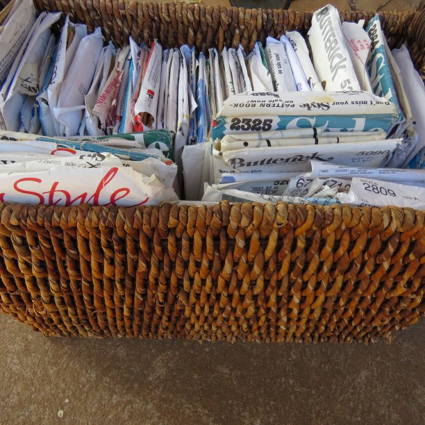 A lifetime of sewing patterns in a basket