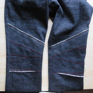 zero waste jeans front knee patches