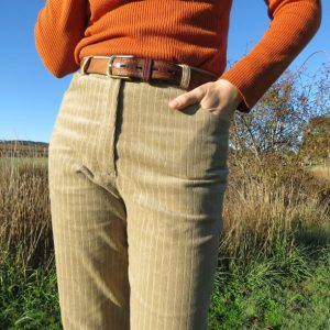 Hello New taupe corduroy trousers closeup of front 2