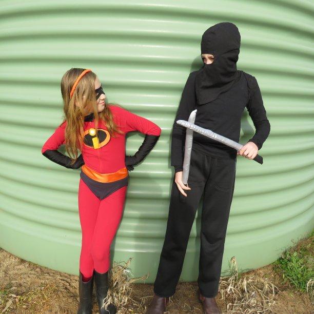 Ninja vs Incredibles book week costumes The ninja and Violet together again
