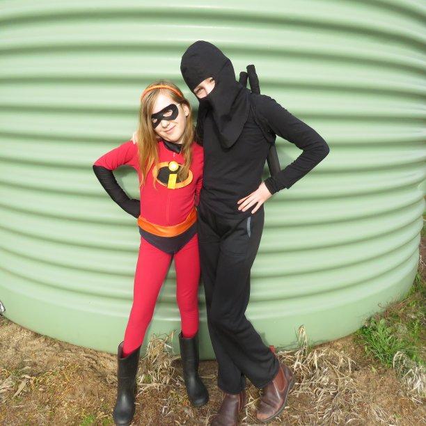 Ninja vs Incredibles book week costumes The ninja and Violet