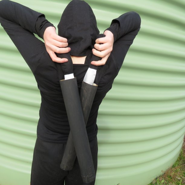 Ninja vs Incredibles book week costumes scabbard 1
