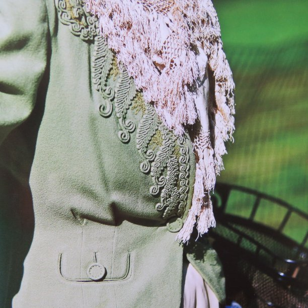Art of Dressing green jacket closeup