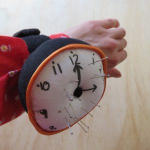 Clock pincushion on wrist 3