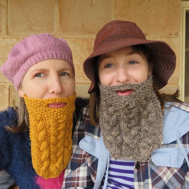 Knitted beards Hans and Lars