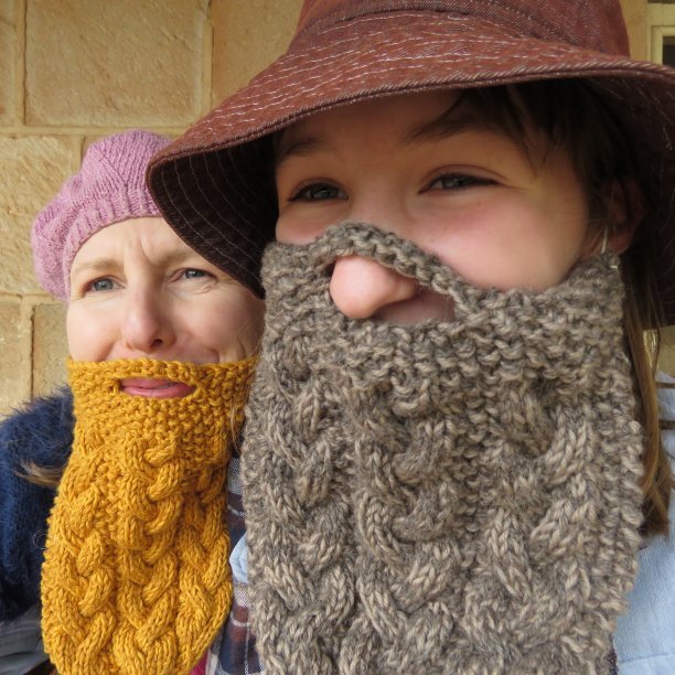 Knitted beards Hans and Lars funny