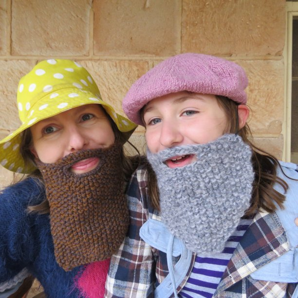 Knitted beards Ned Kelly and Gandalf