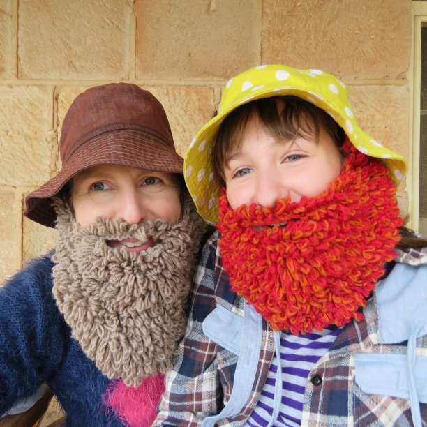Knitted beards loopy beards