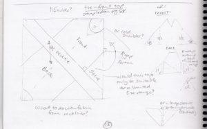 Making a zero waste pattern original sketch of tie front top