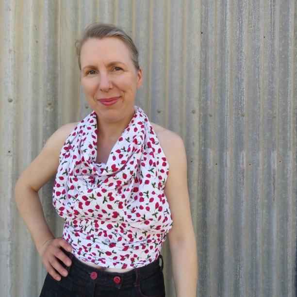 Zero Waste Yoyo top strawberry print worn by Liz