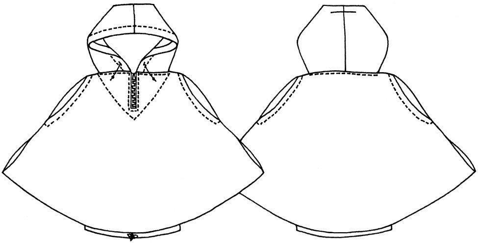 zero waste hooded blouson sketch