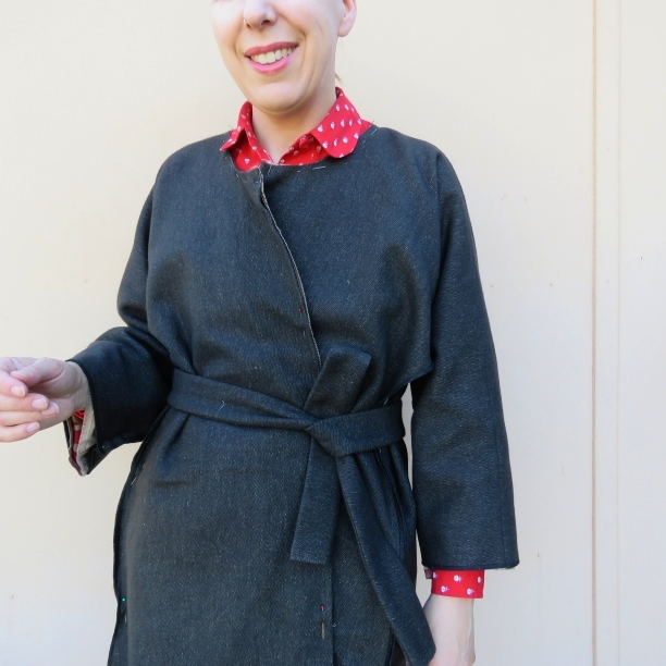 zero waste coat no collar and belted