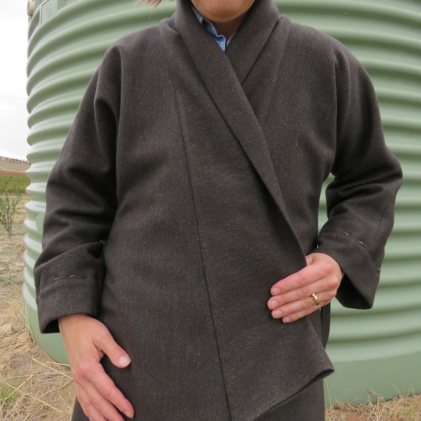 zero waste coat with collar attached