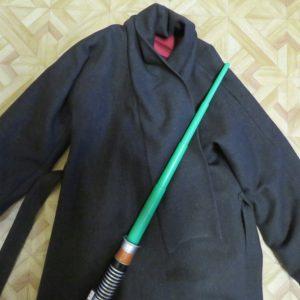 zero waste coat with light saber
