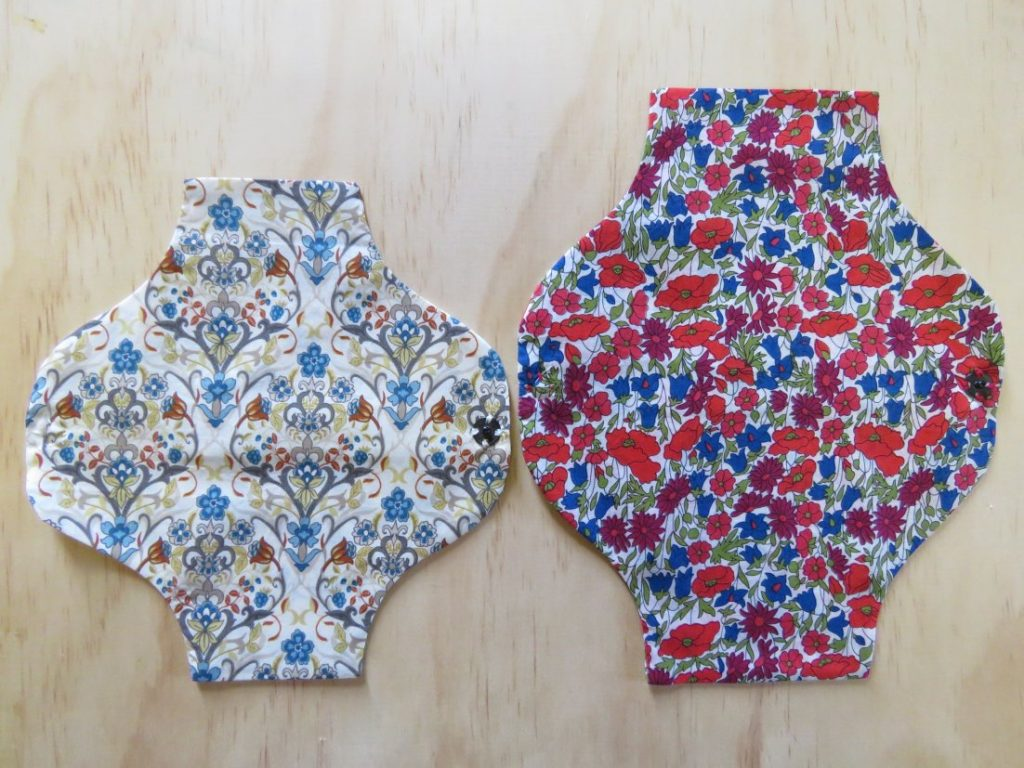 large and small cloth menstrual pads
