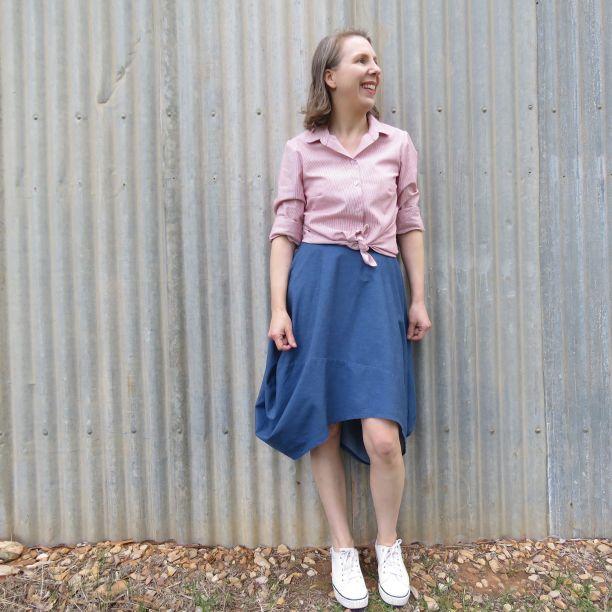 Clair skirt zero waste blue