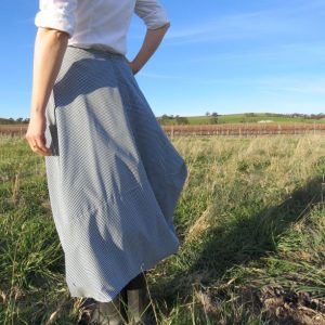 Clair skirt zero waste gingham back view