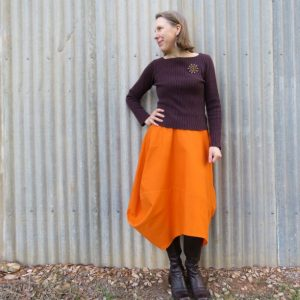 Clair skirt zero waste orange cotton drill