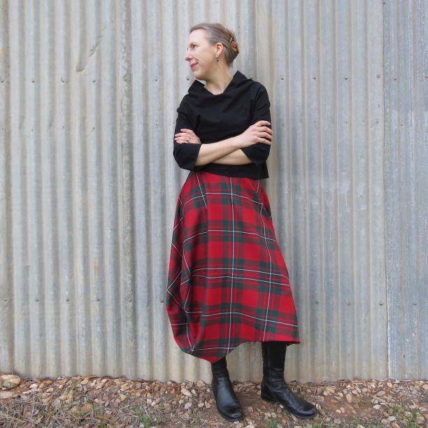 Clair skirt zero waste tartan