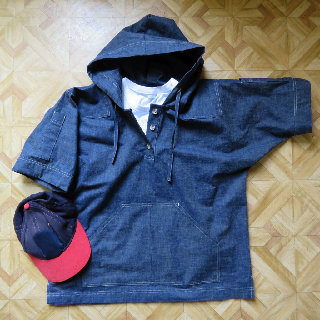 photo of chambray hoodie top