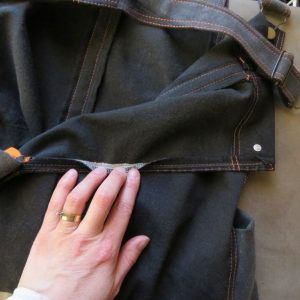 inside of smith pinafore made from old jeans