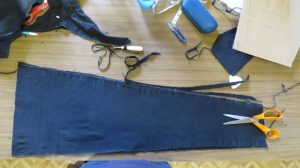 trimming and pressing the panels for the smith pinafore