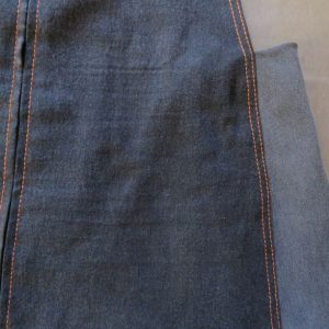 Two tones of denim used for the smith pinafore dress