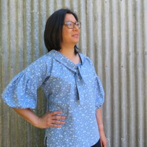 zero waste Cendre Top with tie front