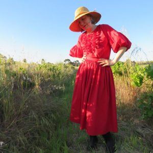 zero waste Cendre Top with frills as dress
