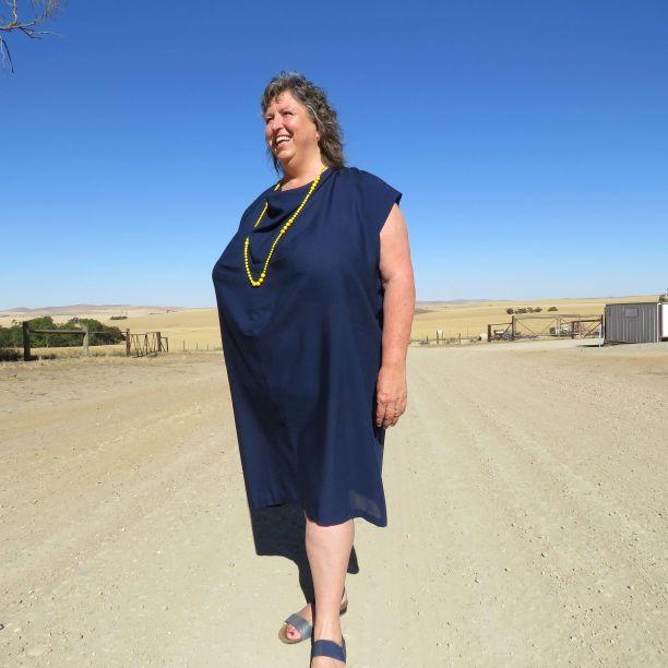 Ursa dress in drapey wool blend