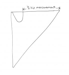 Holly McQuillans spiral trousers sketch for elastic waist