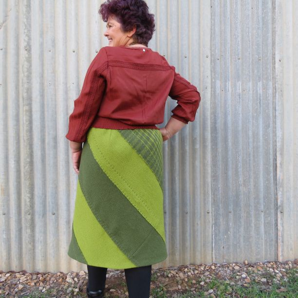 Back view Tekapo 3ply wool skirt Tracy
