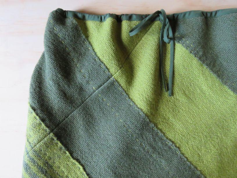 Close up of Tekapo 3ply wool skirt woven on narrow loom