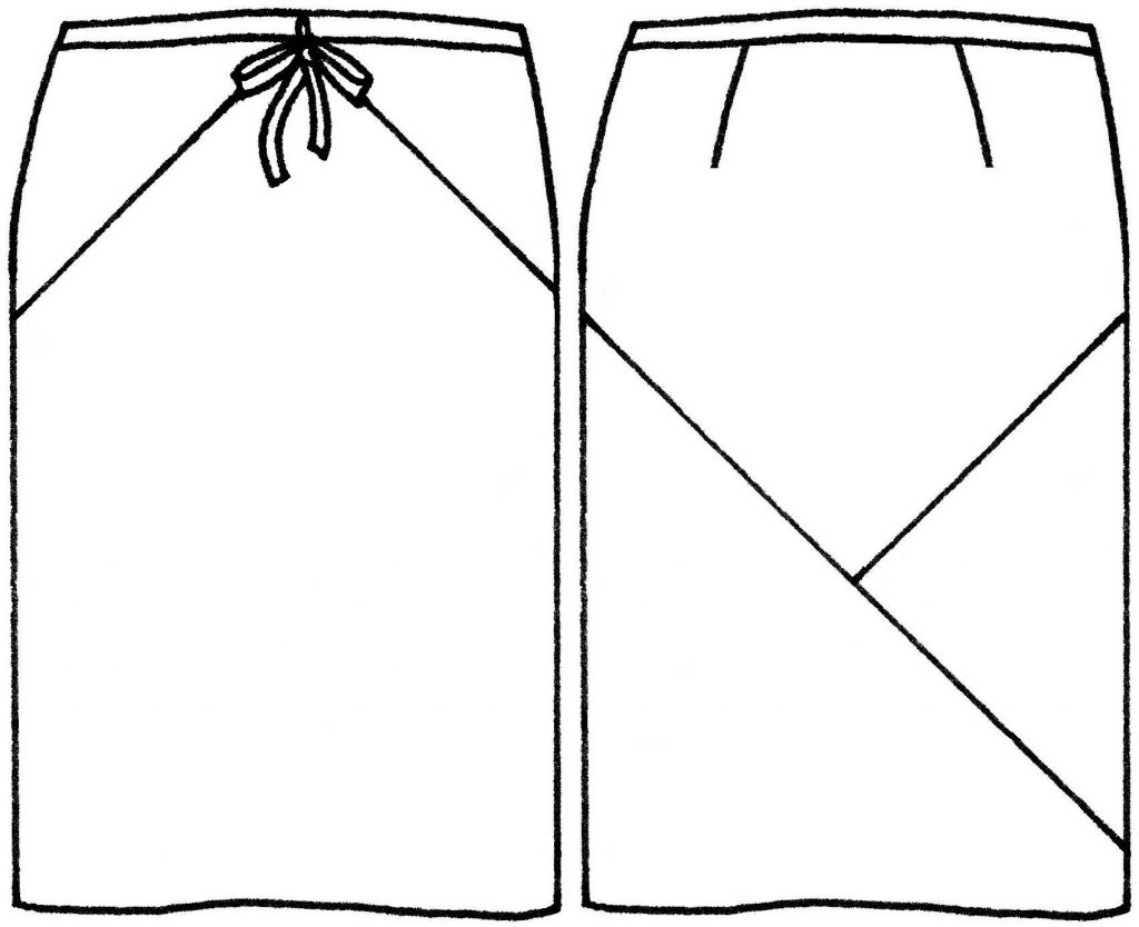 Skirt front and back sketch