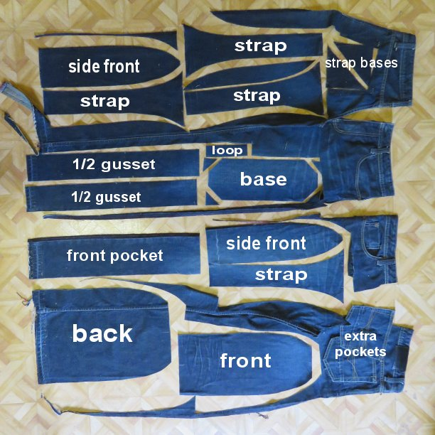 Compact backpack cutting layout for using jeans