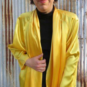 1991 grad parade yellow swing coat front close up