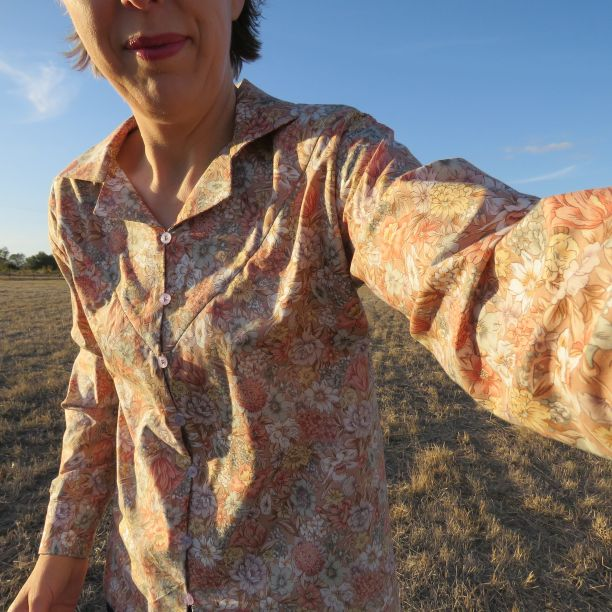 Sandie shirt in floral, an early sample