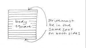 Sandie shirt body square in stripes diagram
