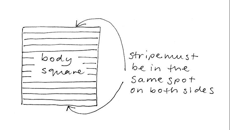 body square in stripes diagram