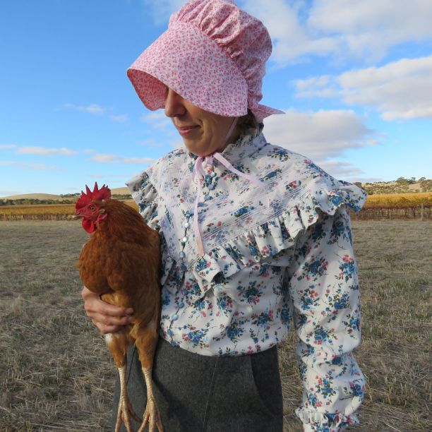 Sandie with ruffles and chicken