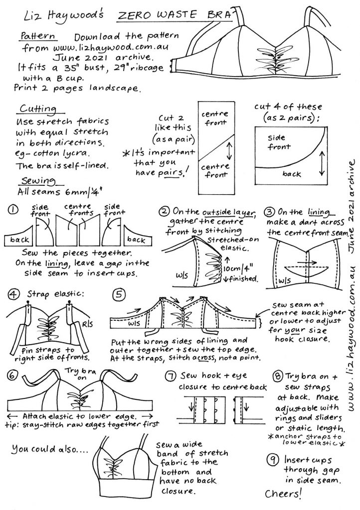 Instructions for making a zero waste bra
