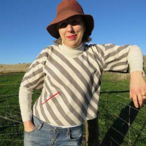Xanthea in stripes worn by Liz