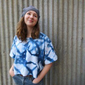 Xanthea top in shibori indigo
