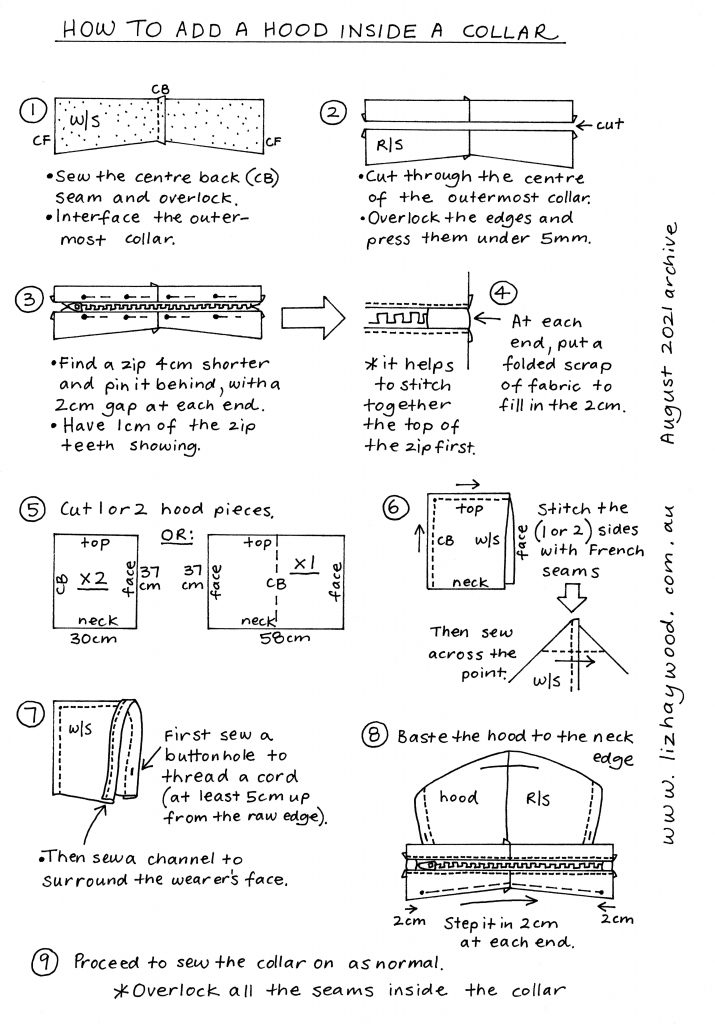 How to add a hood inside a collar Instructions