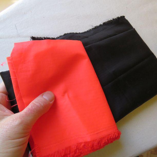 Fabrics for the Kiabi windbreaker -nylon ripstop in black and ORANGE!