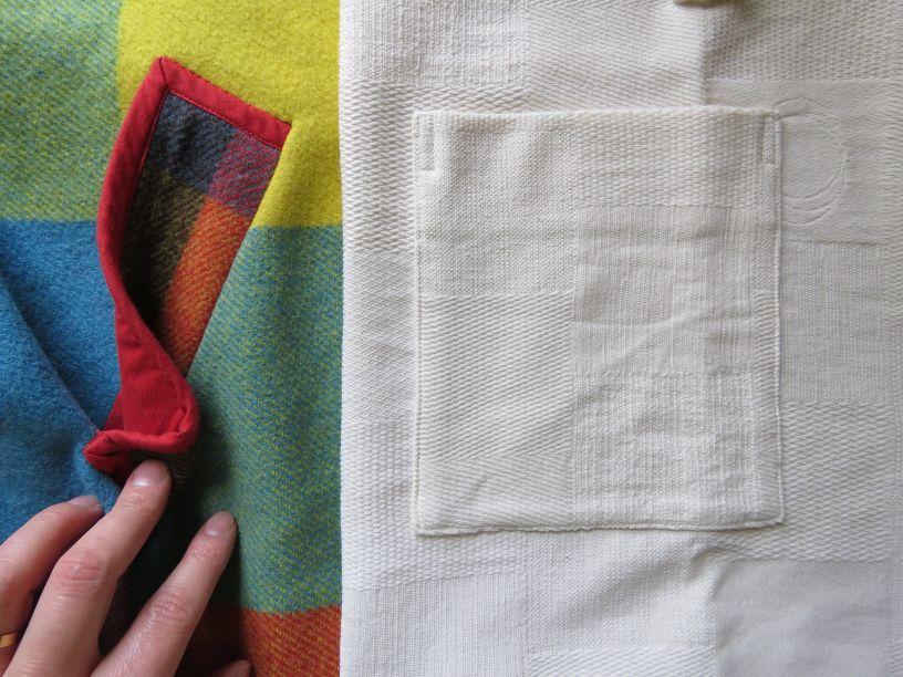 Welt pocket and patch pocket on Zero Waste bathrobe and coat