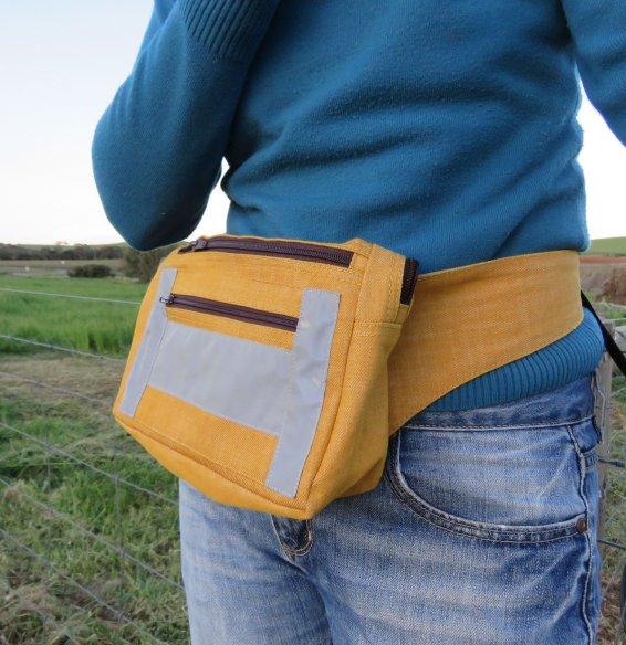 Zero waste velo bag worn as smaller waist bag.