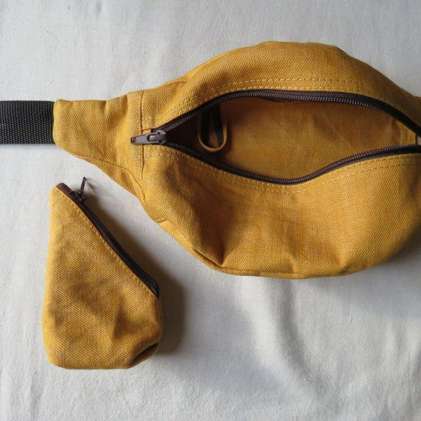 Zero waste waist bag showing loop inside