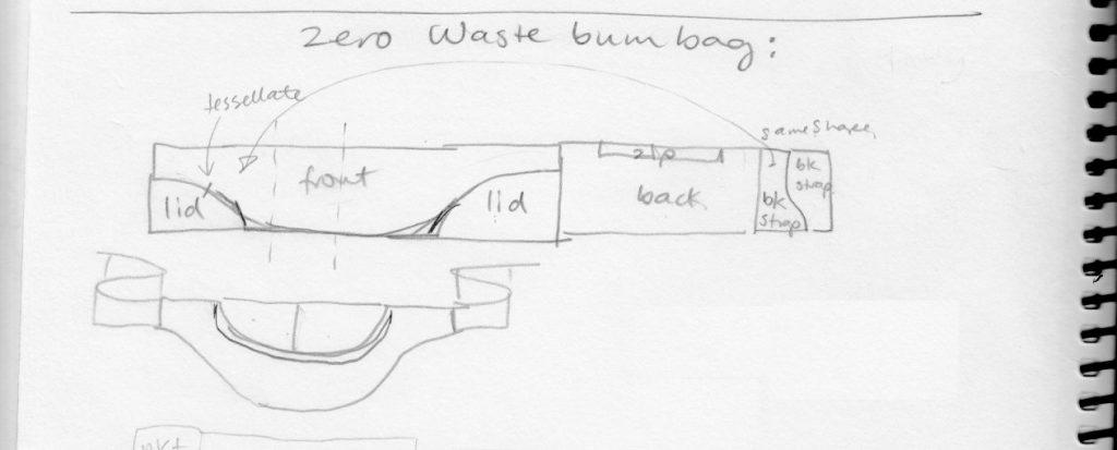 Original sketch for zero waste waist bag